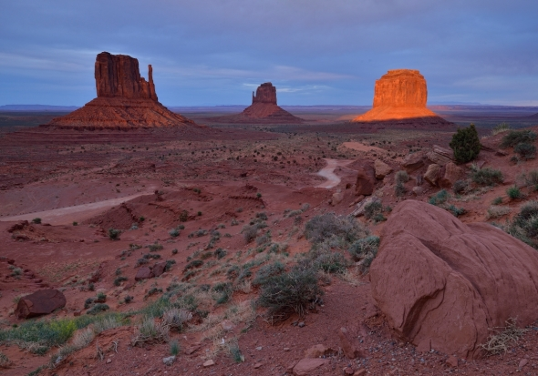 Strange gorgeous sunset at Monument Valley