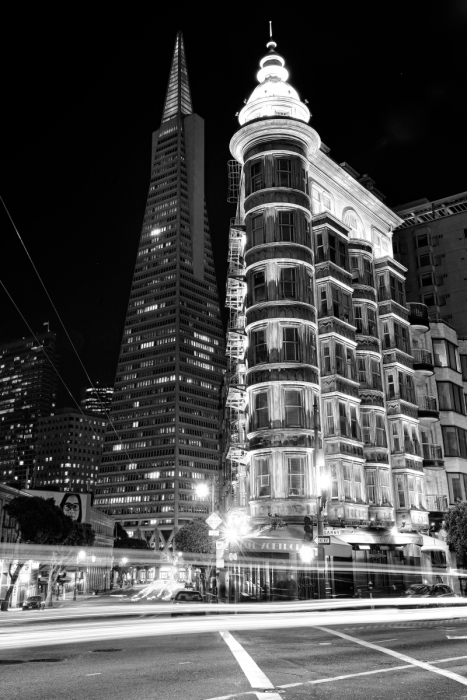 Transamerica Pyramid & Sentinel Building San Francisco at night black and white