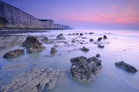 Ault coucher du soleil après le coucher mer manche somme picardie