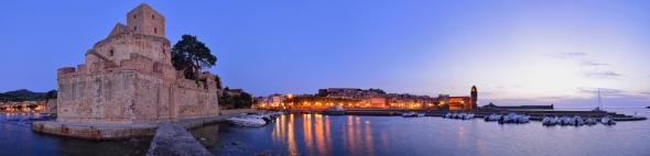 Panorama Collioure avant le lever du soleil